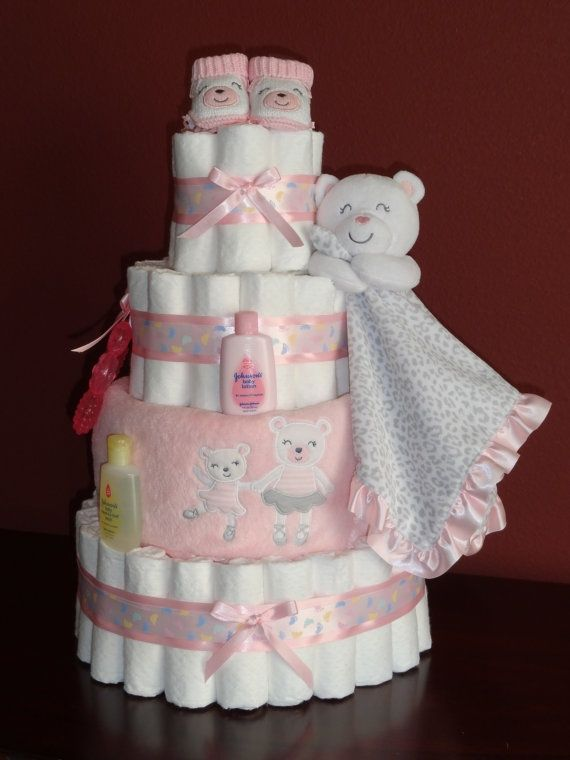 Baby girl pink ballerina diaper cake shower centerpiece or for Pink diaper bouquet