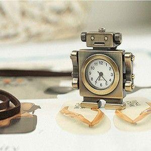 Vintage Style Robot Pocket Watch Pendant Long Necklace
