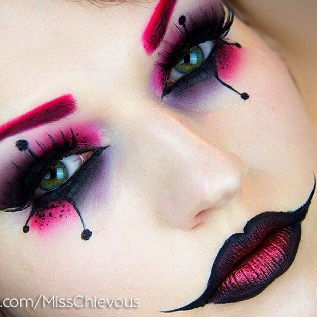 By Julia Graph (Misschevious) Harley Quinn costume makeup. She is on Instagram as well as YouTube.