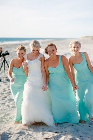 Beach blue Bride & maids, fun colour by Total Brides hair & makeup