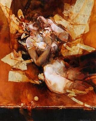 SALTARELLI Vanni  Dans l'espace doré  Technique mixte sur toile  Format (cm) : 92 x 73  Ref : SA003    GALERIE MICKAËL MARCIANO Dans l'espace doré | galerie-marciano.fr/en - via http://bit.ly/epinner
