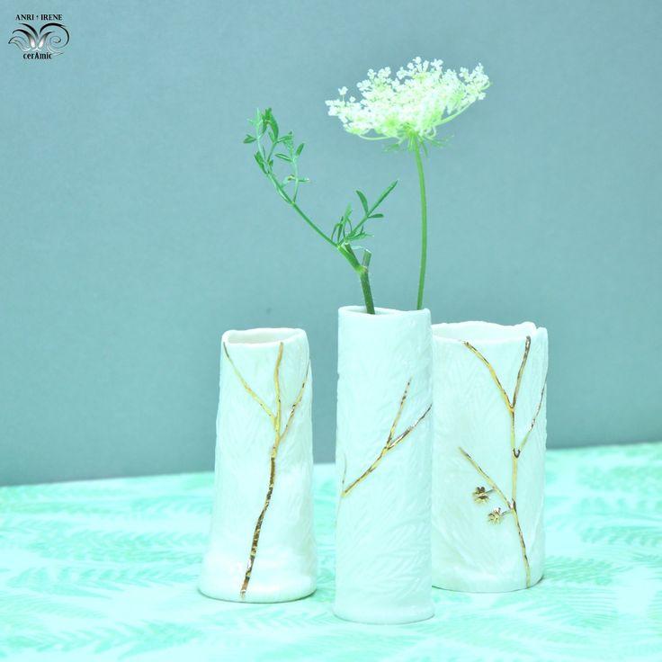 Porcelain vases, floral ceramics, slab-built