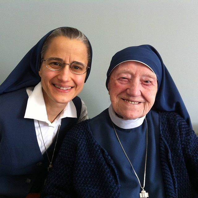 Sister Carmen Christi with Sr. Augusta who celebrates her 100th Birthday this month of March 2016