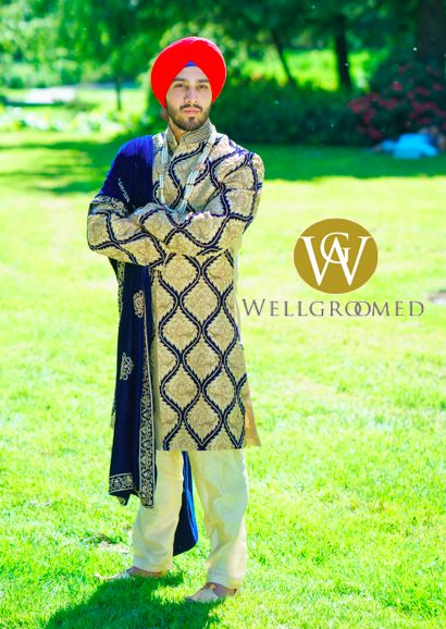 Our client looking handsome in his regal custom designed sherwani for his wedding ceremony!   #indianwedding #sikh #groom #sikhwedding #sherwani