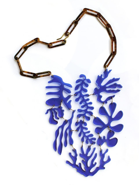 Seaweed Bib Necklace by Emily Miranda (looks like a Matisse cutout)