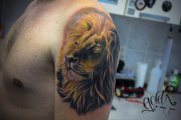 Цветная татуировка лев в стиле реализм на плече