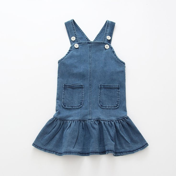 Fashion Autumn Girls Children Kids Baby Princess Denim Jeans Straped Spaghetti  Overalls Tutu Ruffles Dress Vestidos S5824 #Affiliate