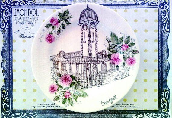 Illustrated Vintage Plate Upcycled Town Hall Sandgate by lemondoll