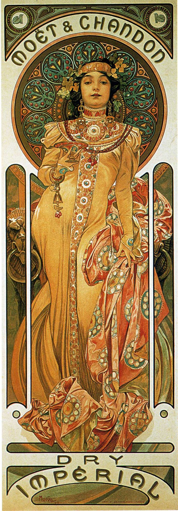 Chandon Cremant Imperial - Alphonse Mucha  Beautiful dress details! I'm noticing that the more complex the detail in the clothing, jewelry, hair and halo...the better the large flat-color areas of the face and limbs stand out.