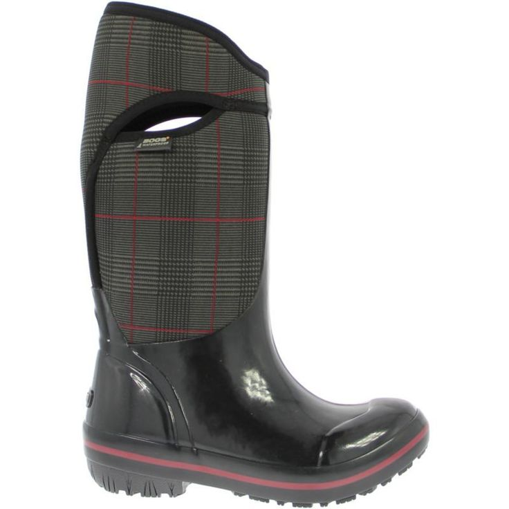 """Bogs Women's Plimsoll Prince of Wales High 13"""" Insulated Waterproof Rain Boots, Black"""