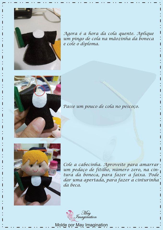 boneca em feltro,bonequinha formatura, lembrancinhas, artesanato em feltro, @temarteemtudo