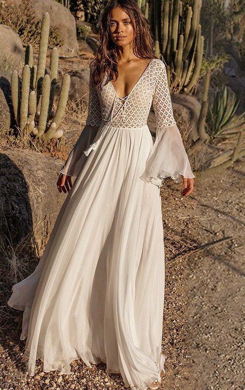 Flared Backless Maxi White V-neck Dress