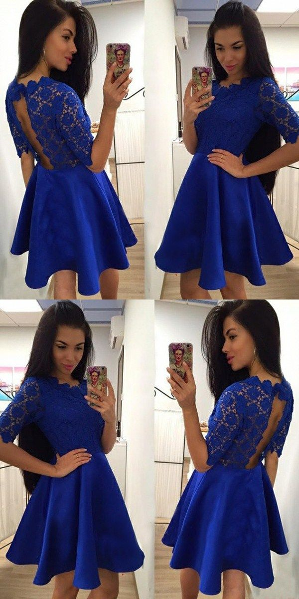 chic royal blue homecoming party dresses, short prom dresses with open back, semi formal dresses with short sleeves.