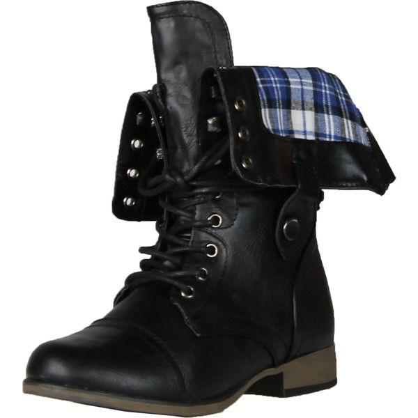 Legend8 Leatherette Military Combat Boot Lace Up Foldable Women New... ($43) ❤ liked on Polyvore featuring shoes, boots, black military boots, black boots, black army boots, combat boots and fold-over boots