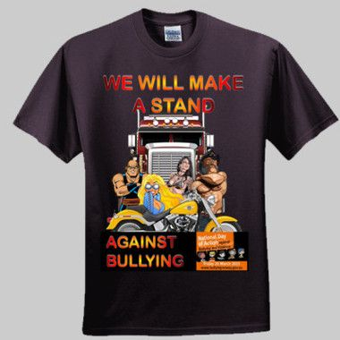 We Will Make A Stand Against Bullying Men's T-Shirt. Fundraiser shirt for the Kids Helpline. Make a stand against bullying on 20th March, 2015. $5.00 from each shirt sold will go to Kids Helpline.  $A29.95 Sizes: S-5XL Round neck or v neck http://www.wildsteel.com.au/we-will-make-a-stand-against-bullying/