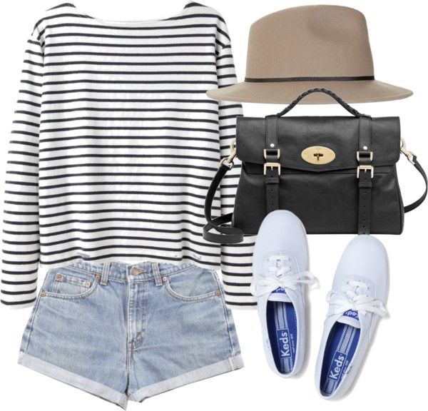 Casual stripes outfit idea. Long sleeved black and white striped shirt, light wash high waisted shorts, white keds, black leather bag and sun hat. So cute! (this link is crap)