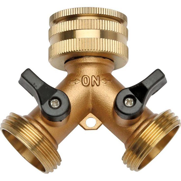 2 Way Brass Tap Adaptor   Fits Standard Taps, Stout Brass Design - Hoselink