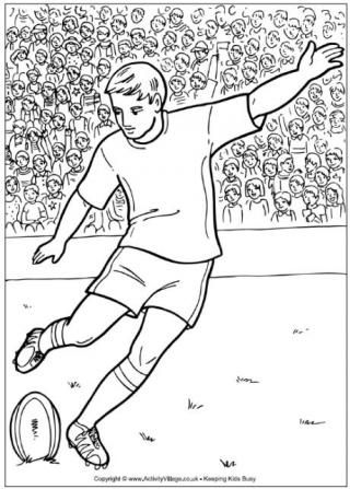 Rugby Player Colouring Page