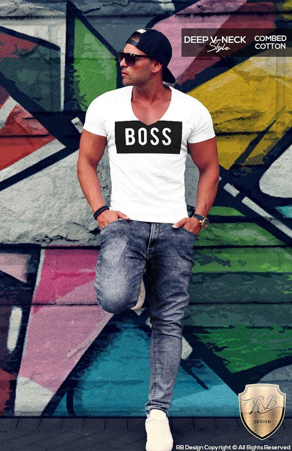 BOSS Men's White T-shirt Fitness Gym Tank Top I Am The Boss Slogan RB Design MD024