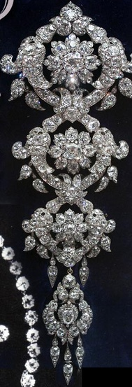 The Londonderry diamond Stomacher. The ornament can be divided into three brooches. Garrards made it in 1853 for Frances Anne, widow of the 3rd Marquess of Londonderry The estimate for   manufacture was £175