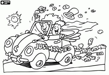 Wedding themed coloring pages that are free to print.  I like the pictures on this website the best!