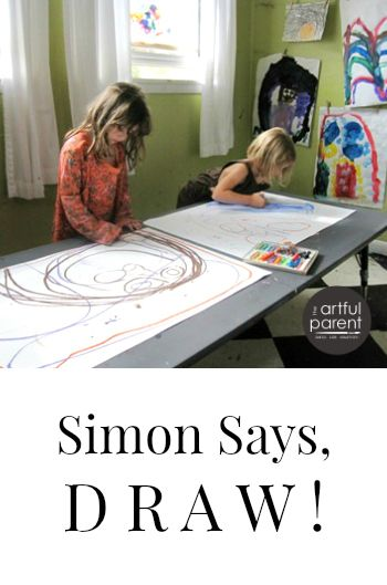 Simon says, Draw! is a fun, interactive drawing activity for kids and families that allows them to take turns dictating the marks, designs, or images made.