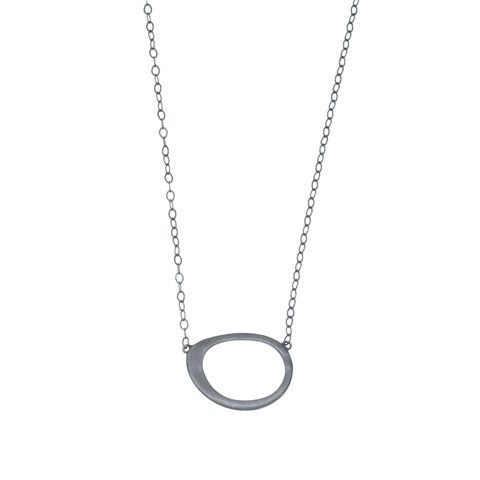 Bellabi, Aby rhodium, halskæde, sort sølv