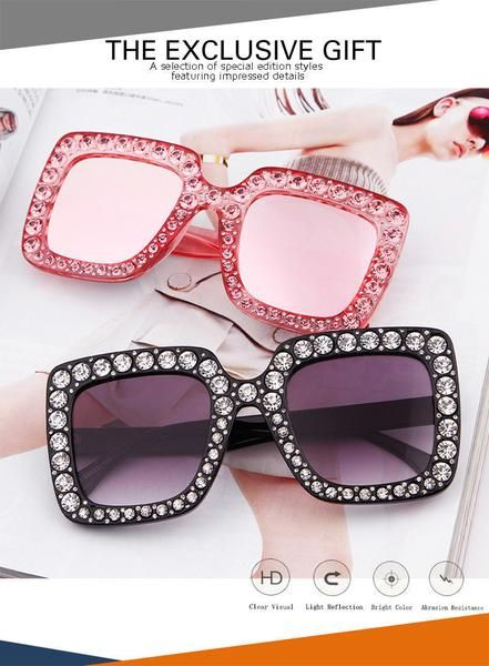 0aec17fe22e5 Large Square Frame Bling Rhinestone Sunglasses Women Fashion