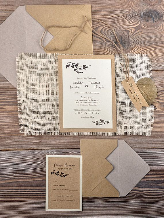 Rustic Wedding Invitation,  Recycling  Eco  Invitation, Birds in Love Invitation, Burlap Invitation, Shabby Chic Invitation on Etsy, $4.80