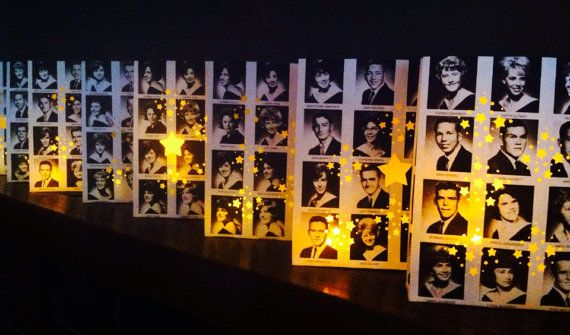 10 Yearbook Luminaries Reunion Decor Custom Made by Oldendesigns, $160.00