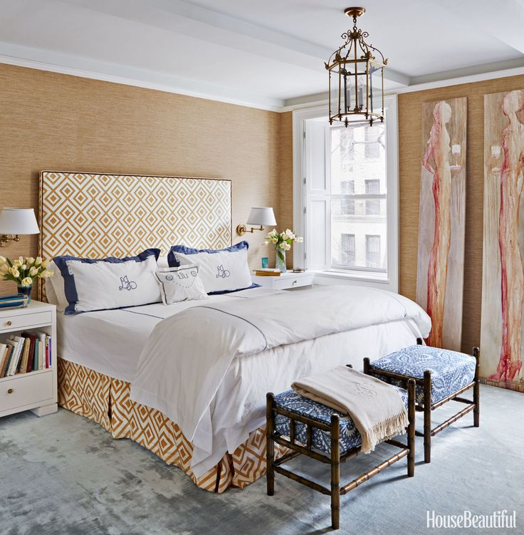 In the master bedroom, walls in Madison Sheer by Rose Tarlow Melrose House and a headboard covered in Lee Jofa's La Fiorentina stand in for the warmth of curtains.