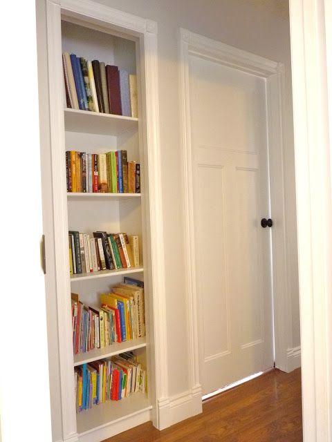 Turn a closet into a built-in bookshelf