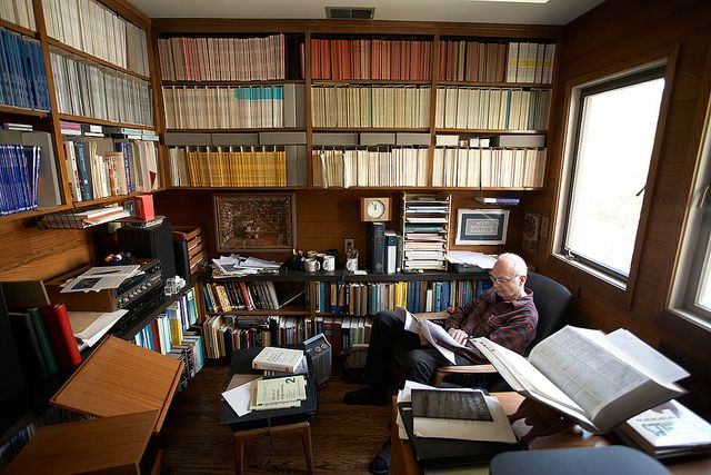 Donald Knuth at home in his study where he does his writing. by Timothy Archibald