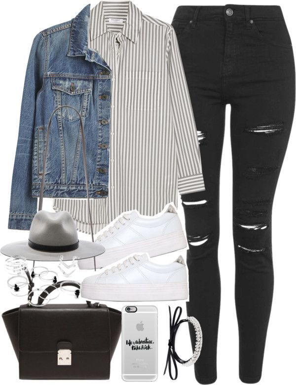 Outfit with ripped jeans and platform sneakers from ferned with leather strap