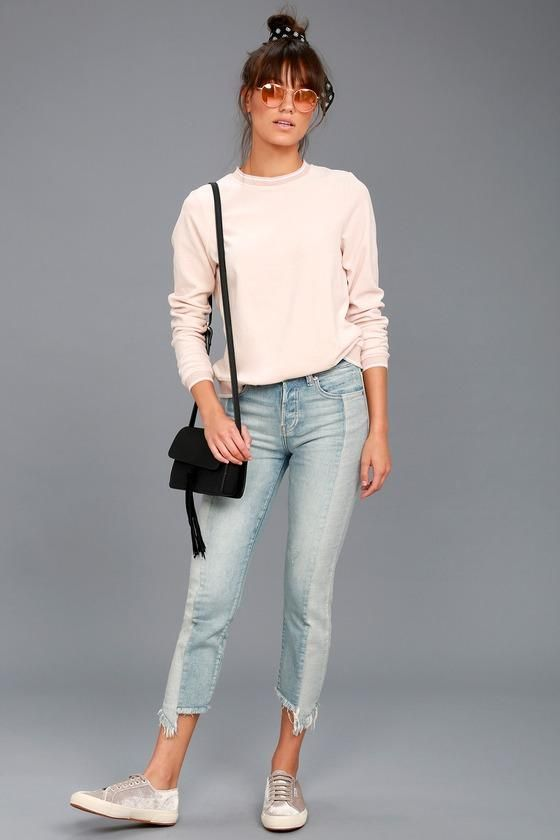 5ab84f031268 #Lulus - #Lulus So it Seams Light Wash Two-Tone Distressed Jeans -  AdoreWe.com