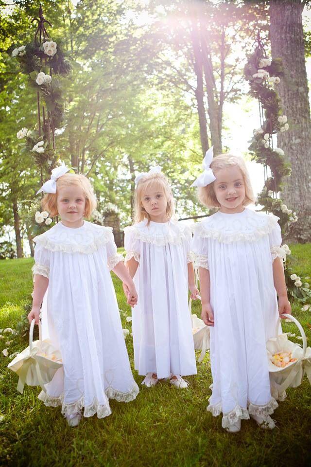 Gorgeous Flower girls in their Mela Wilson Heirloom dresses (style 345WE) for order write to: mela.wilson2@comcast.net