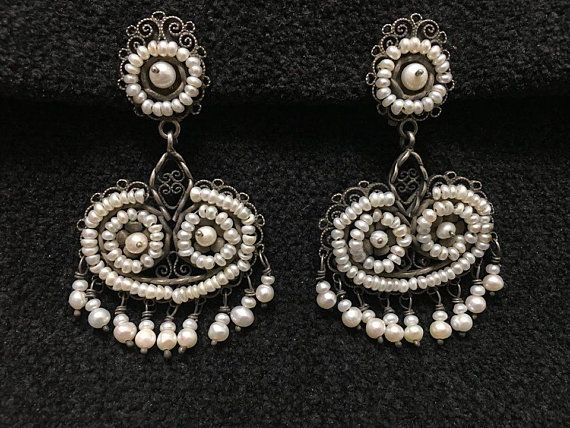 e765f4ff3 Artist: Federico CLIP ON EARRINGS ~ Measurements Filigree from Oaxaca  Accent Pearls of Wisdom Length W/earwire 2 1/2 Width: 1 1/2 $420- Perfected  over ...