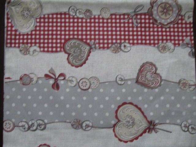 STOFFA tessuto tovaglia-cuscino-tende shabby chic country Kendy rosso