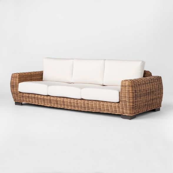 Eldridge Wicker Patio Sofa With Sunbrella Cushions Brown White