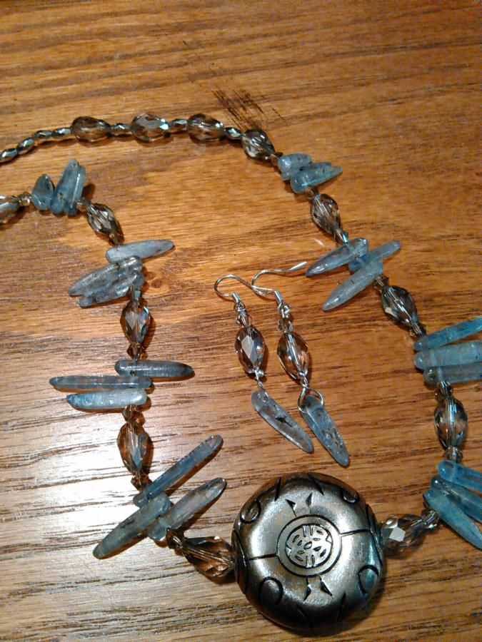 Kyanite spindles with silver accents - Jewelry creation by Suzi Fowler