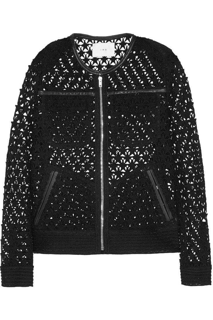 IRO|Veste en coton crocheté à finitions en cuir Ostella|NET-A-PORTER.COM