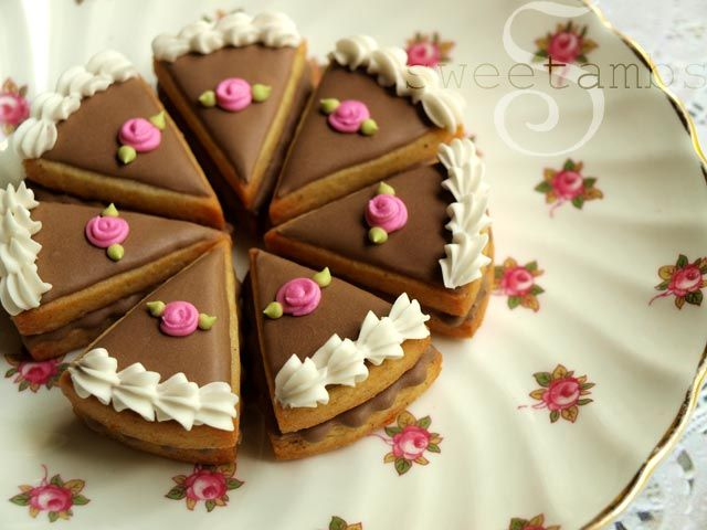 How to make cake slice cookies (SweetAmbs). So cute!