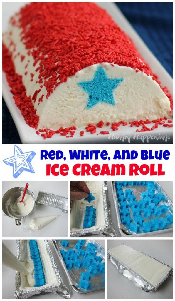 Red, White and Blue Ice Cream Roll for the 4th of July | Perfect for that hot summer barbecue!