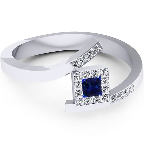 Inel logodna L129ASF cu safir si diamante