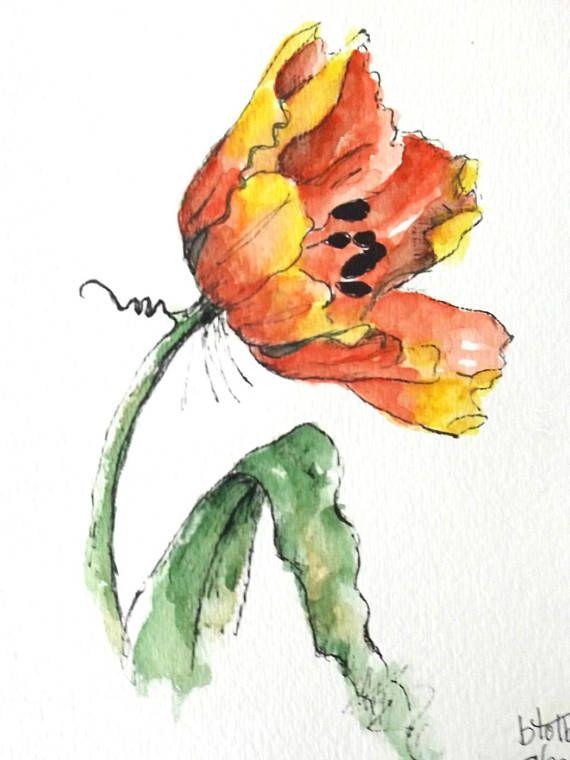 Tulpe Blume ursprüngliche Kunst Aquarellmalerei Feder und Tinte Aquarell Blume Tulpe Hand bemalt