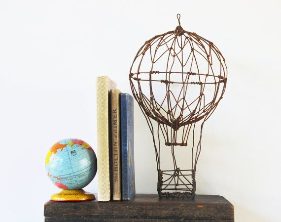Up Up And Away Vintage Handmade Hot Air Balloon Home Decor Wire