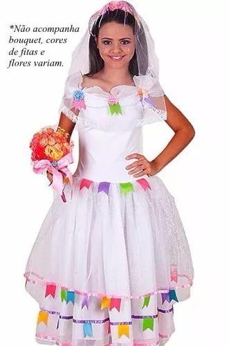 vestido noiva infantil festa junina caipira + tiara com véu