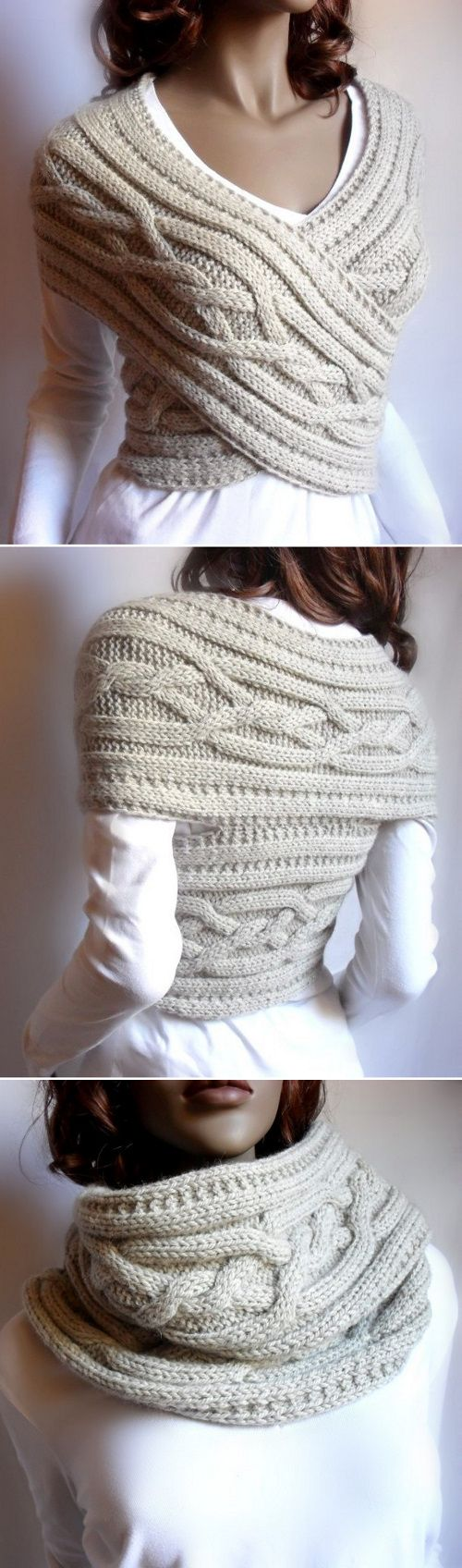 Cable Knit Wrap Vest/Cowl combo ~ knitted one-piece to wear criss-cross as a sweater vest, or gathered up for a neck warmer ~ €4 for pattern via instant digital download (pdf) | from PillandPattern shop @ Etsy