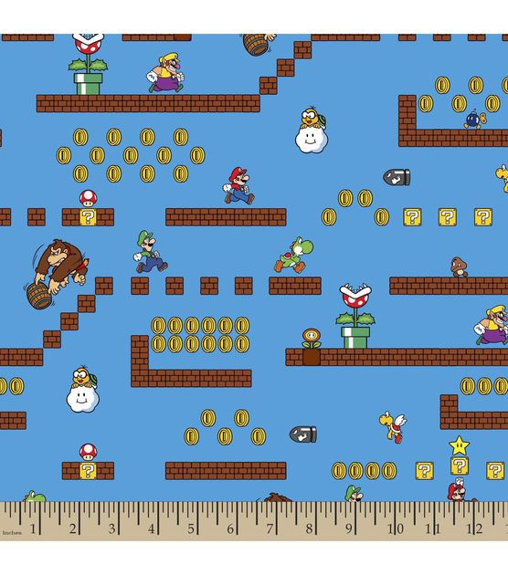 Super Mario Bros Game Scenes Cotton Fabric