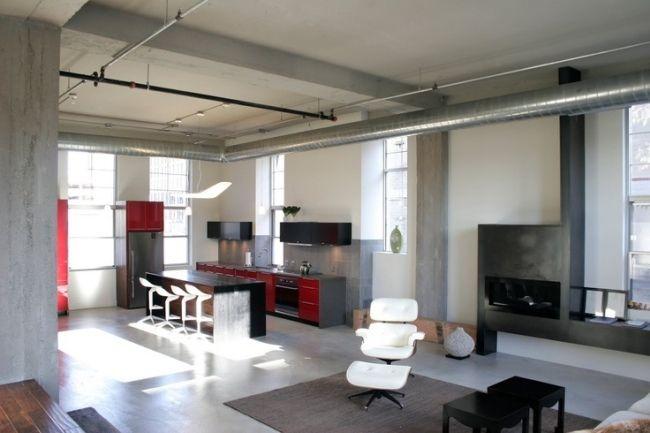 wohnideen industriell küche schwarz weiß weiße barhocker Küche - küche schwarz weiß